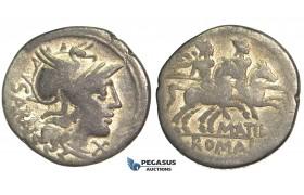 O41, Roman Republic, M. Atilius Serranus (148 BC) AR Denarius (3.51g) Rome, Dioscuri