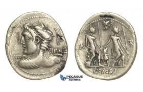 O45, Roman Republic, Lucius Caesius (112-111 BC) AR Denarius (3.66g) Rome, Vulcan