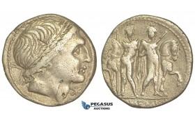O46, Roman Republic, L. Memmius (109-108 BC) AR Denarius (3.75g) Rome, Dioscuri