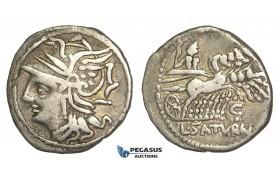 O48, Roman Republic, L. Appuleius Saturninus (104 BC) AR Denarius (3.64g) Rome, Quadriga