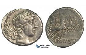 O49, Roman Republic, C. Vibius C.f. Pansa (90 BC) AR Denarius (3.85g) Rome, Quadriga