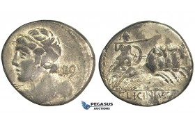 O50, Roman Republic, C. Licinius L.f. Macer (84 BC) AR Denarius (3.74g) Rome, Minerva