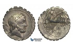 O52, Roman Republic, Q. Antonius Balbus (83-82 BC) AR Denarius Serratus (3.76g) Rome, Quadriga