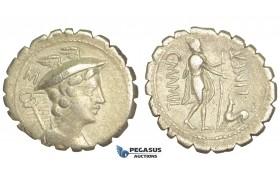 O53, Roman Republic, C. Mamilius Limetanus (82 BC) AR Denarius Serratus (3.91g) Rome, Ulysses