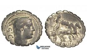 O54, Roman Republic, L. Procilius (80 BC) AR Denarius Serratus (3.83g) Rome, Juno Sospita