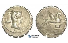 O55, Roman Republic, L. Papius (79 BC) AR Denarius Serratus (3.85g) Rome, Juno Sospita, Rare!