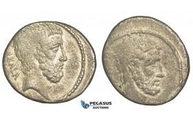 O57, Roman Republic, Q. Servilius Caepio (M. Junius) Brutus (54 BC) AR Denarius (3.77g) Rare!
