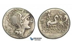 O58, Roman Republic, Appius Claudius Pulcher, T. Manlius Mancius, and Q. Urbinius (111-110 BC) AR Denarius (3.76g) Rome, Triga