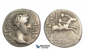 O61, Roman Empire, Augustus (27 BC-14 AD) AR Denarius (3.64g) Struck 8 BC, Lugdunum