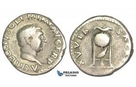 O64, Roman Empire, Vitellius (69 AD) AR Denarius (3.15g) Rome, Dolphin, Rare!
