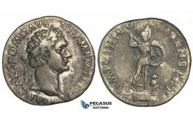 O66, Roman Empire, Domitian (81-96 AD) AR Denarius (2.98g) Struck 92-93 AD, Rome, Minerva