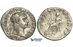 O70, Roman Empire, Trajan (98-117 AD) AR Denarius (2.76g) Struck 98-99 AD, Rome, Abundantia