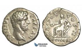 O72, Roman Empire, Aelius Caesar (136-138 AD) AR Denarius (2.97g) Struck under Hadrian 107 AD, Rome, Rare!