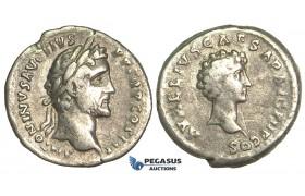 O73, Roman Empire, Antoninus Pius, with Marcus Aurelius as Caesar (138-161 AD) AR Denarius (3.29g) Struck 141-143 AD, Rome