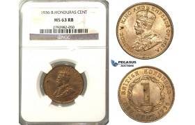 O83, British Honduras, George V, Cent 1936, NGC MS63RB