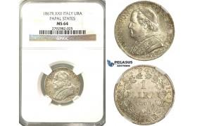 O86, Italy, Papal States, Pius IX, Lira 1867-R (XXII) Rome, Silver, NGC MS64 (Pop 1/2, No finer)