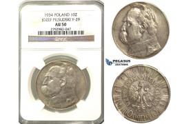 O87, Poland, 10 Zlotych 1934 (Piludski) Silver, NGC AU50