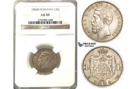 O89, Romania, Carol I, 1 Leu 1884-B, Bucharest, Silver, NGC AU55