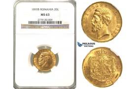 O90, Romania, Carol I, 20 Lei 1890-B, Bucharest, Gold, NGC MS63