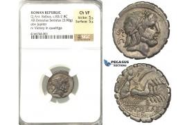 P02, Roman Republic, Q. Antonius Balbus (83-82 BC) AR Denarius Serratus (3.90g) Rome. Quadriga, NGC Ch VF