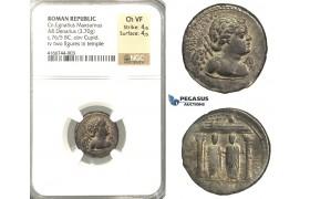 P04, Roman Republic, Cn. Egnatius Maxsumus (76 BC) AR Denarius (3.70g) Rome, Cupid/Temple, Rare! NGC Ch VF