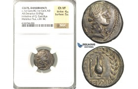 P07, Geto-Dacians?, AR Denarius, Barbaric Imitation of Metellus (5.09g) Dark Patina, NGC Ch VF