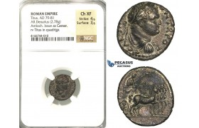P11, Roman Empire, Titus As Caeser (79-81 AD) AR Denarius (2.78g) Antioch, Struck under Vespasian, 72-73 AD, Judaea Capta, Rare! NGC Ch XF