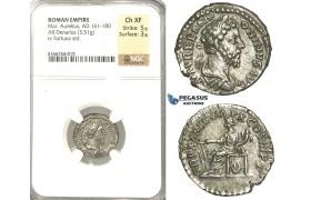 P12, Roman Empire, Marcus Aurelius (161-180 AD) AR Denarius (3.51g) Jan-March 180 AD, Rome, Fortuna, Rare! NGC Ch XF