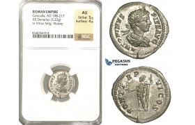 P13, Roman Empire, Caracalla (198-217 AD) AR Denarius (3.22g) Rome, 203 AD, Virtius/Victory, NGC AU