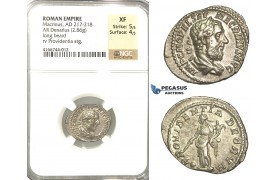 P15, Roman Empire, Macrinus (217-218 AD) AR Denarius (2.86g) Rome, March-June 218 AD, Providentia, NGC XF