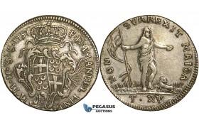 P25, Malta, Emmanuel Pinto, 15 Tari 1757, Silver, Very Nice!