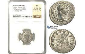 P49, Roman Empire, Trajan (98-117 AD) AR Denarius (3.00g) Rome, 100 AD, Victory, NGC XF