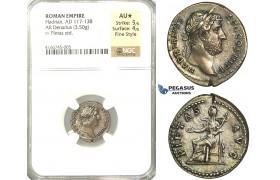 P52, Roman Empire, Hadrian (117-138 AD) AR Denarius (3.50g) Rome, 134-138 AD, Pieatas, NGC AU* Star
