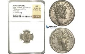 P54, Roman Empire, Septimius Severus (193-211 AD) AR Denarius (3.30g) Emesa, 194-195 AD, Fortuna, NGC AU