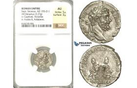 P55, Roman Empire, Septimius Severus (193-211 AD) AR Denarius (3.27g) Rome, 195 AD, Captives, NGC AU