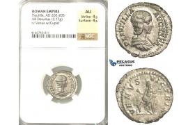 P59, Roman Empire, Plautilla, Augusta (+211 AD) AR Denarius (3.77g) Rome, 202-205 AD, Venus, NGC AU