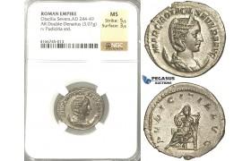 P61, Roman Empire, Otacilia Severa, Augusta (244-249 AD) AR Double Denarius (3.07g) Rome, Pudicitia, NGC MS