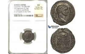 P62, Roman Empire, Diocletian (284-305 AD) AR Argenteus (3.15g) Rome, Campgate, NGC AU