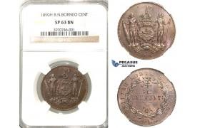 P63, British North Borneo, 1 Cent 1890-H, Heaton, NGC SP63BN