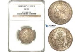 P67, Norway, Oscar II, Krone 1900, Silver, NGC AU58