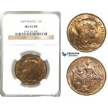 P71, France, Third Republic, 10 Centimes 1899, Paris, NGC MS65RB
