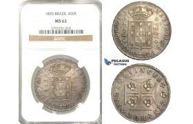 P79, Portugal, Maria II, 400 Reis 1835, Lisbon, Silver, NGC MS62 (Slab error)