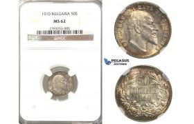 R04, Bulgaria, Ferdinand, 50 Stotinki 1910, Silver, NGC MS62