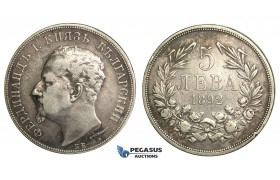 R06, Bulgaria, Ferdinand I, 5 Leva 1892-KB, Kremnica, Silver, Nice and Uncleaned!