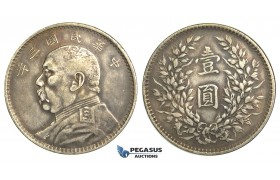 "R07, China, ""Fat Man"" Dollar 1914, Silver, Nice details & strong toning!"