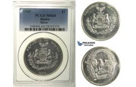 R106, Biafra, Pound 1969, Silver, PCGS MS64