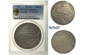 R107, Brazil, Joao Prince Regent, 960 Reis 1816-R, Rio de Janeiro, PCGS AU Det. (Error on Slab)