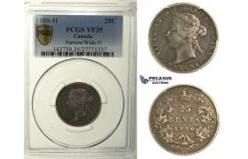 R110, Canada, Victoria, 25 Cents 1880-H (Narrow/Wide O) Heaton, Silver, PCGS VF35, Rare!