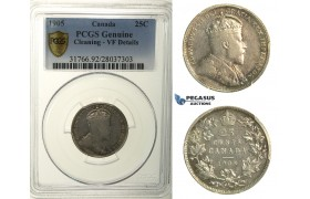 R112, Canada, Edward VII, 25 Cents 1905, Silver, PCGS VF Details