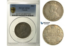 R114, Canada, George V, 50 Cents 1911, Silver, PCGS VF25